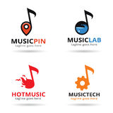 Muziekpak Logo Template Design Vector Royalty-vrije Stock Foto