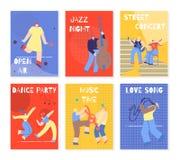 Muziekpartij die Geplaatste Mensen Kleurrijke Kaarten uitvoeren stock illustratie