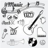 Muziekpictogrammen Royalty-vrije Stock Foto's