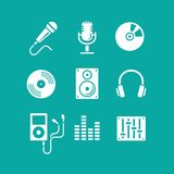 Muziekpictogrammen voor app Royalty-vrije Stock Afbeeldingen