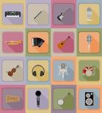 Muziekpunten en van materiaal vlakke pictogrammen vectorillustratie Stock Afbeelding