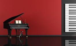 Muziekruimte met grote piano Stock Afbeeldingen