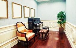 Muziekruimte met piano Royalty-vrije Stock Afbeeldingen