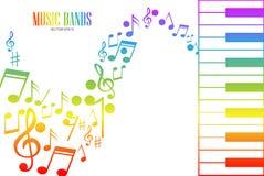 Muziektoetsenbord met Kleurrijke Sleutels en Nota's royalty-vrije illustratie