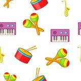Muzikaal apparatenpatroon, beeldverhaalstijl royalty-vrije illustratie