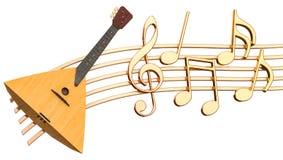 Muzikaal concept Balalaika met muzieknota's, het 3d teruggeven stock illustratie