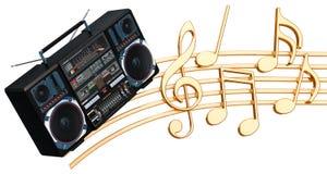 Muzikaal concept Boombox met muzieknota's, het 3d teruggeven vector illustratie