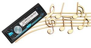 Muzikaal concept Digitale media ontvanger met muzieknota's, 3d ren royalty-vrije illustratie