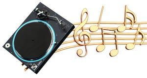 Muzikaal concept Fonograafdraaischijf met muzieknota's, 3d rende stock illustratie