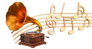 Muzikaal concept Grammofoon met muzieknota's, het 3d teruggeven vector illustratie