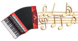 Muzikaal concept Harmonika met muzieknota's, het 3d teruggeven stock illustratie