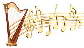 Muzikaal concept Harp met muzieknota's, het 3d teruggeven vector illustratie