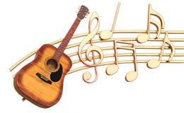 Muzikaal concept Houten gitaar met muzieknota's, het 3d teruggeven royalty-vrije illustratie