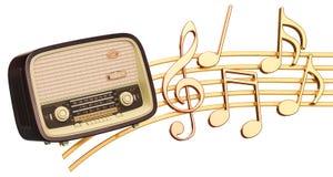 Muzikaal concept Retro radioontvanger met muzieknota's, 3d rende vector illustratie