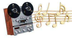 Muzikaal concept Retro reel-to-reel bandrecorder met muziek niet stock illustratie