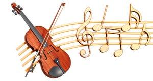 Muzikaal concept Vioolontvanger met muzieknota's, het 3d teruggeven stock illustratie