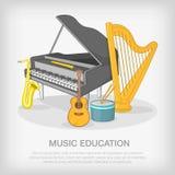 Muzikaal ensembleconcept, beeldverhaalstijl vector illustratie