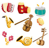 Muzikaal het instrumentenpictogram van het beeldverhaal Stock Foto