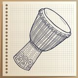 Muzikaal instrument Afrikaanse Trommel percussie Vector illustratie stock illustratie