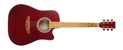 Muzikaal instrument - akoestische gitaar van het vooraanzicht de bruine schema Ge?soleerde royalty-vrije stock afbeeldingen