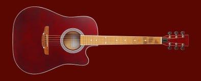 Muzikaal instrument - akoestische gitaar van het vooraanzicht de bruine schema op Geïsoleerd rood royalty-vrije stock afbeeldingen