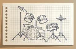 Muzikaal instrument De blauwe uitrusting van de Trommel percussie Vector illustratie stock illustratie