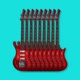 Muzikaal instrument - Elektrische gitaren op een blauwe achtergrond royalty-vrije stock afbeelding