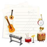 Muzikaal instrument met een leeg malplaatje vector illustratie