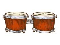 Muzikaal instrument Rode Bongo stock illustratie