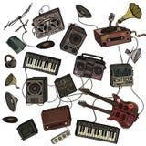 Muzikaal instrumenten en materiaal Royalty-vrije Stock Foto's