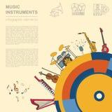 Muzikaal instrumenten grafisch malplaatje Allerlei musical instr Royalty-vrije Stock Fotografie