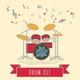 Muzikaal instrumenten grafisch malplaatje Drumkit Stock Afbeeldingen