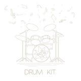 Muzikaal instrumenten grafisch malplaatje Drumkit royalty-vrije illustratie