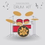 Muzikaal instrumenten grafisch malplaatje Drumkit stock illustratie
