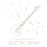 Muzikaal instrumenten grafisch malplaatje Elektrische gitaar vector illustratie