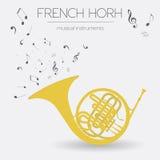 Muzikaal instrumenten grafisch malplaatje Franse hoorn vector illustratie