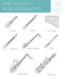 Muzikaal instrumenten grafisch malplaatje Houten wind stock illustratie