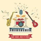 Muzikaal instrumenten grafisch malplaatje Jazz, blauw, de bedelaars van het rots` n ` broodje Stock Afbeelding