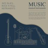 Muzikaal instrumenten grafisch malplaatje Jazz, blauw, de bedelaars van het rots` n ` broodje vector illustratie