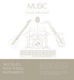 Muzikaal instrumenten grafisch malplaatje Jazz, blauw, de bedelaars van het rots` n ` broodje stock illustratie