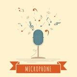 Muzikaal instrumenten grafisch malplaatje Microfoon Royalty-vrije Stock Afbeelding
