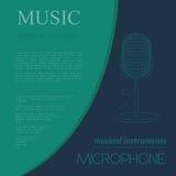 Muzikaal instrumenten grafisch malplaatje Microfoon vector illustratie