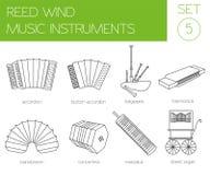 Muzikaal instrumenten grafisch malplaatje Rietwind vector illustratie