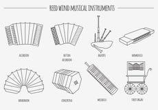 Muzikaal instrumenten grafisch malplaatje Rietwind stock illustratie