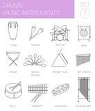 Muzikaal instrumenten grafisch malplaatje trommels Royalty-vrije Stock Foto's