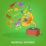 Muzikaal instrumenten groen concept, beeldverhaalstijl stock illustratie