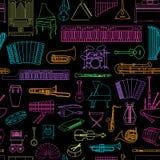 Muzikaal instrumenten naadloos patroon Royalty-vrije Stock Fotografie