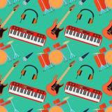 Muzikaal instrumenten naadloos patroon Gitaarsynthesizer, trommel, microfoon, hoofdtelefoons voor band Vlakke desig vector illustratie