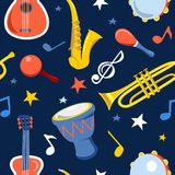 Muzikaal instrumenten naadloos patroon op een donkere achtergrond vector illustratie