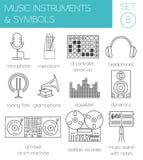 Muzikaal instrumenten & symbolen grafisch malplaatje Royalty-vrije Stock Foto